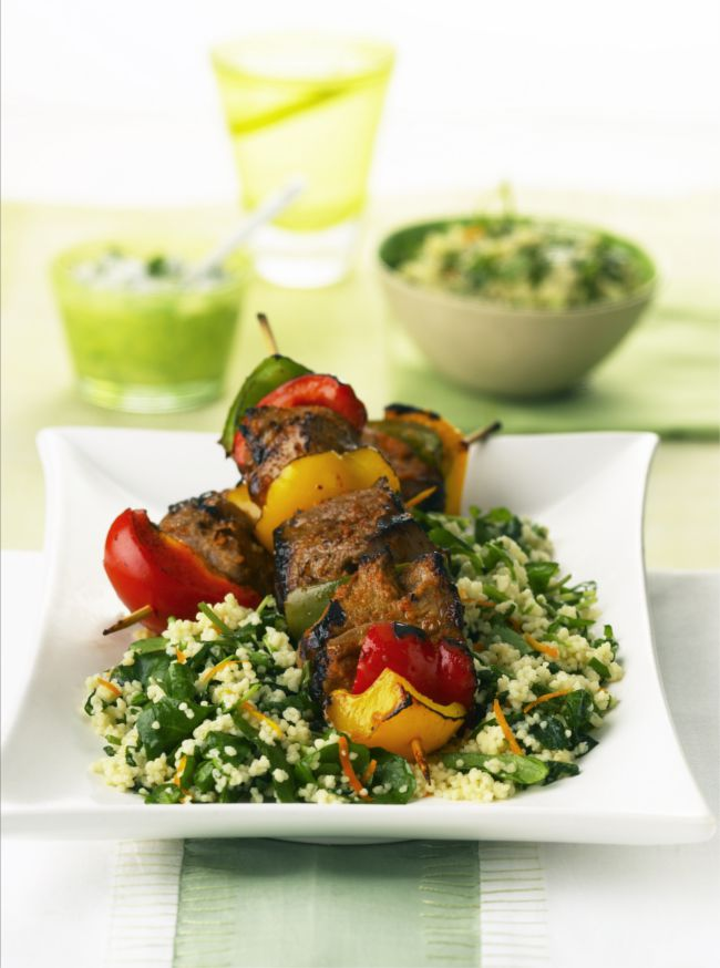 Lamb Kebabs with Orange & Watercress Couscous