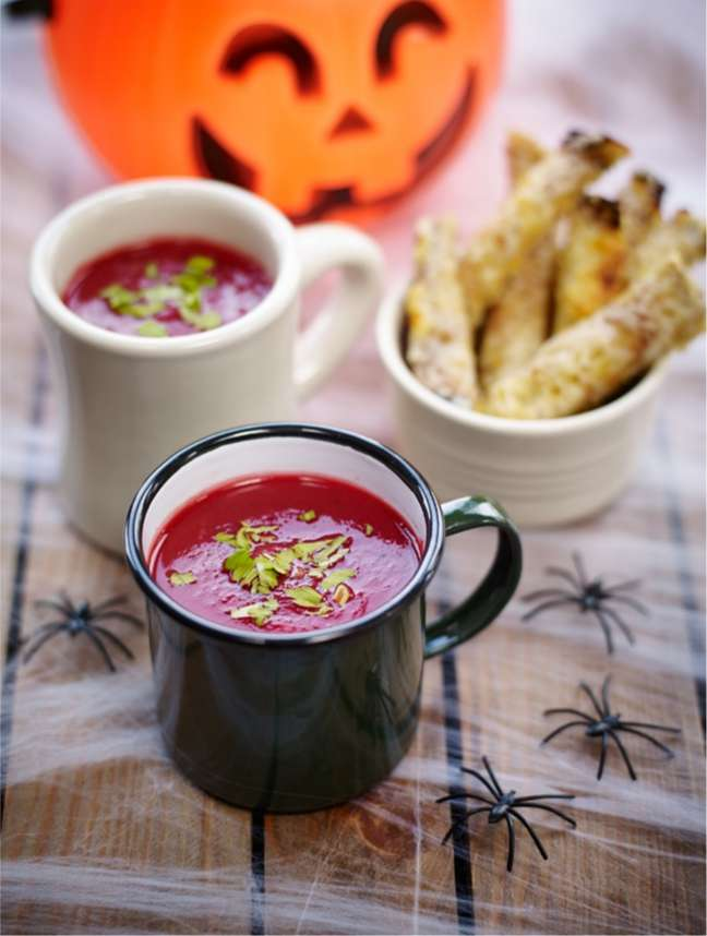 Beetroot & Pumpkin soup with Godminster soldiers