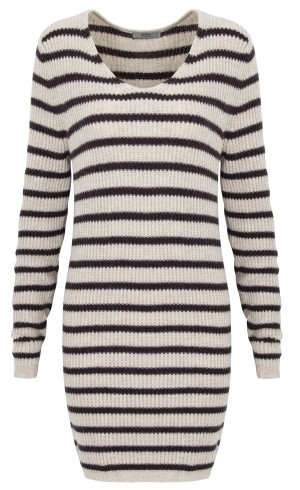 Twiggy M&S Woman Cream and Brown Striped Jumper Dress