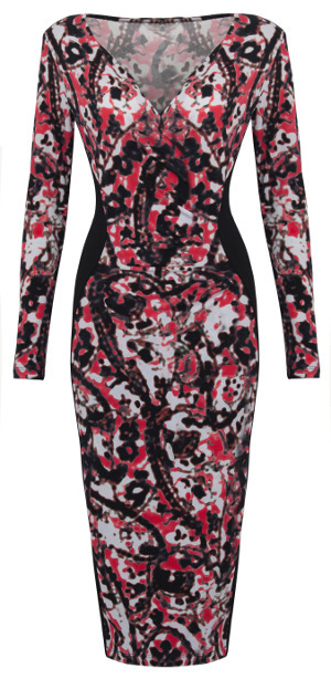 Twiggy M&S Woman Blurred Paisley Red and Black Dress