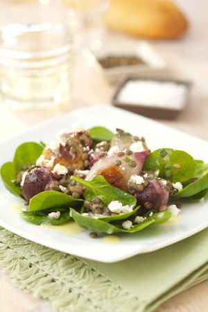 Roasted shallotbeetroot and spinach salad with goats cheese