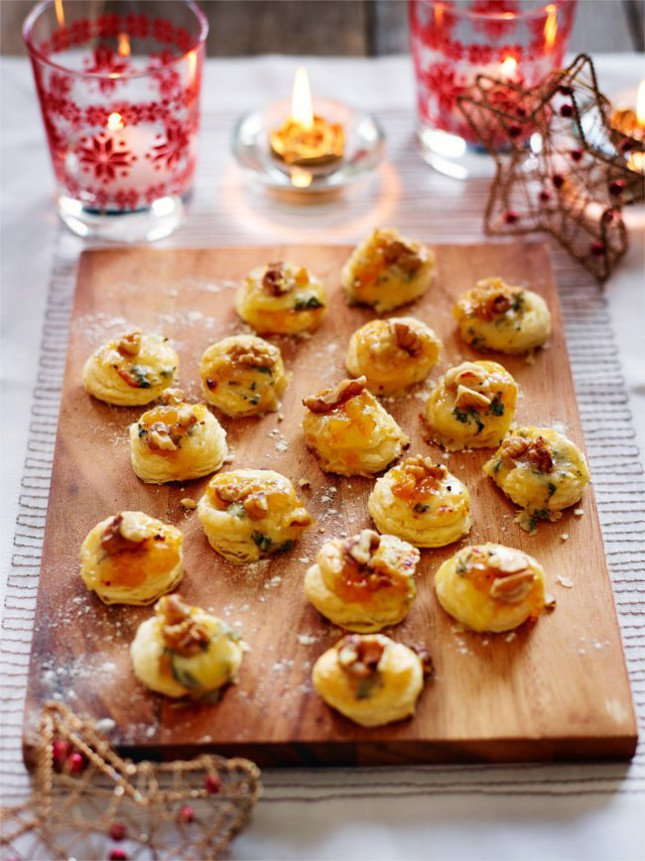 apricot jam and stilton canapes