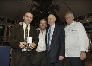 Adrian Tierney-Jones (far left) wins the Budvar John White Travel Bursary at the 2007 Beer Writer of the Year Awards.