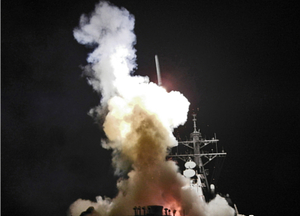 A tomahawk launches from USS Barry: Destination - Libya