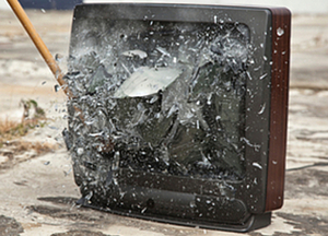 A TV in somewhat better condition than many of the 'homes' shown last night