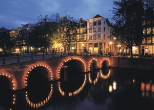 Illuminated bridges Amsterdam