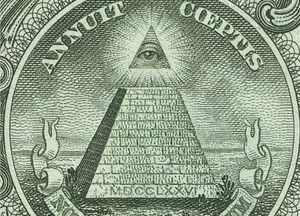 Yes, it's a masonic image; yes, it's on the back of the US Dollar bill and yes, someone really was taking the mickey with this one