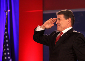 Rick Perry saluting the flag (even though he once called for Texas to secede from the union). IMAGE COURTESY OF GAGE SKIDMORE @ FLICKR