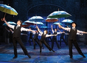 A somewhat inevitable umbrella-related shot from Singin' in the Rain...