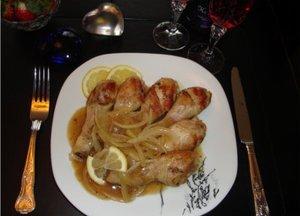 Chicken drumsticks in lemon and coca cola sauce
