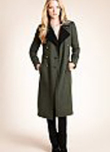 Autograph Double Breasted Military Coat with Wool