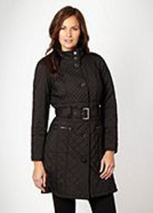 Black long diamond quilted coat