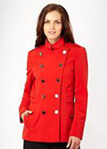 Red funnel neck crepe coat