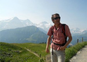 Jungfrau, Eiger and Monch, plus our guide.