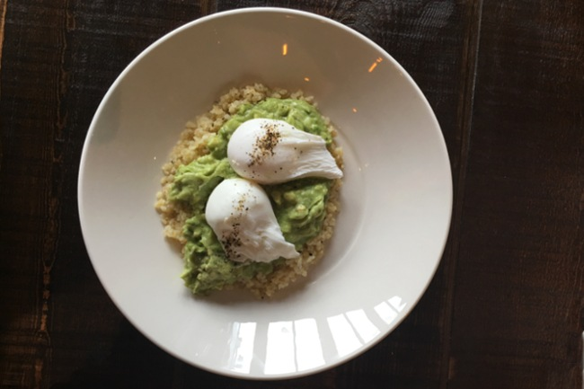 Avocado, bulgur wheat and poached eggs