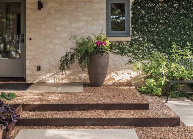 Garden front steps