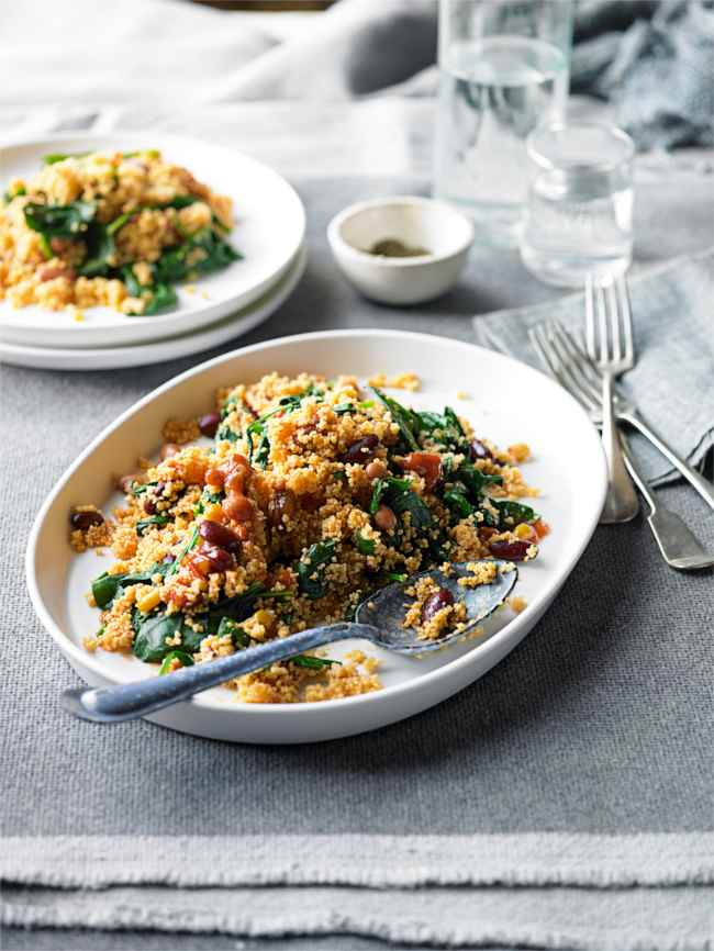 Bean and spinach couscous