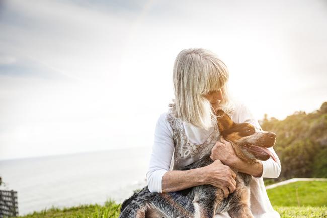 Elderly women and dog