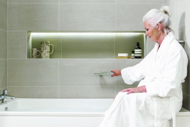 Women sat on the bath