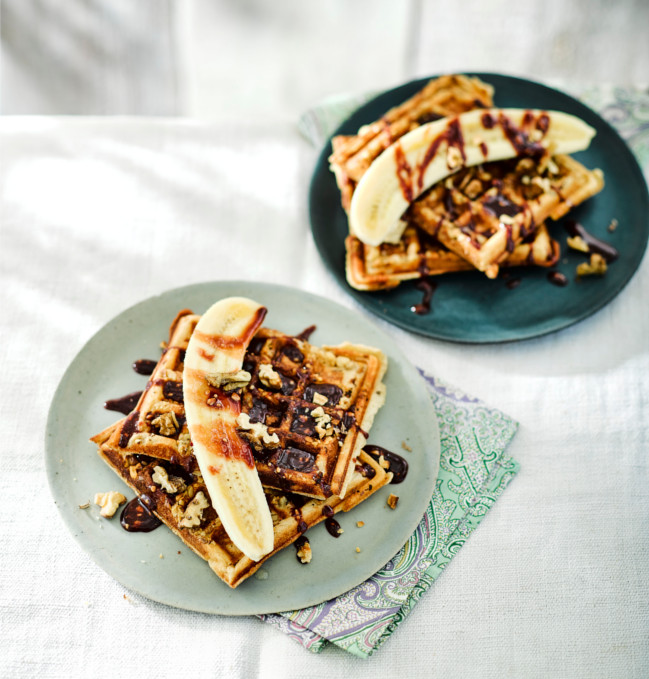 Walnut waffles with date drizzle
