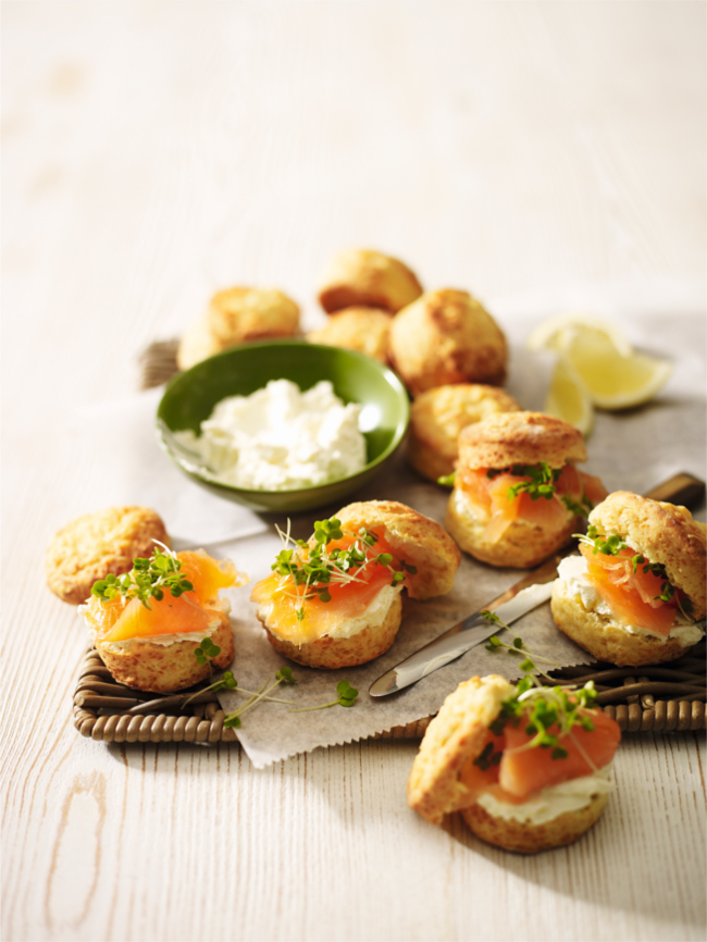Cheddar and smoked salmon scones