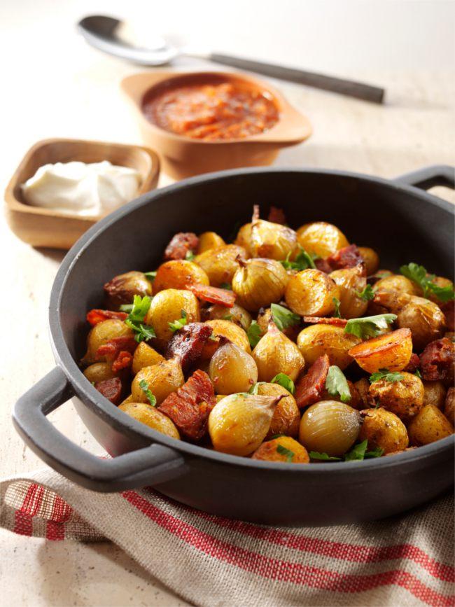 Patatas bravas with shallots, new potatoes and chorizo