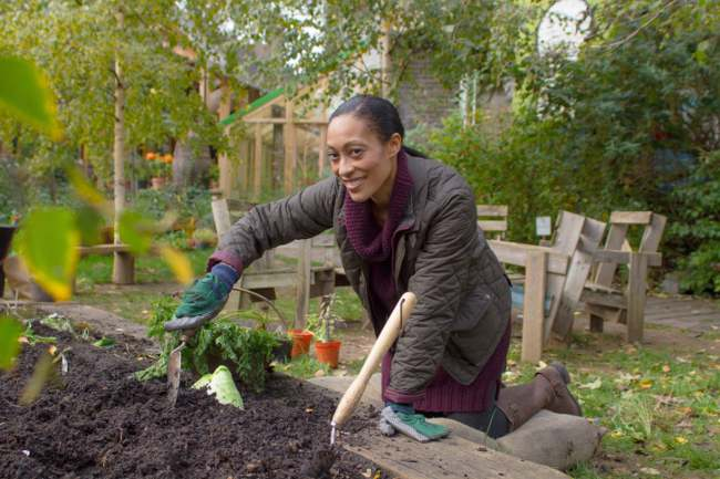woman cultivating soil
