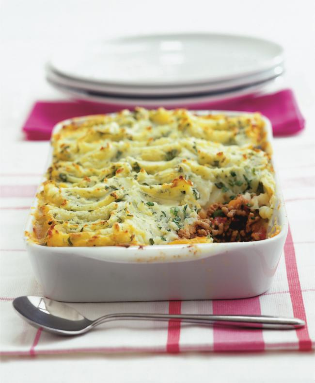 Shepherd's pie topped with watercress and cheddar mash