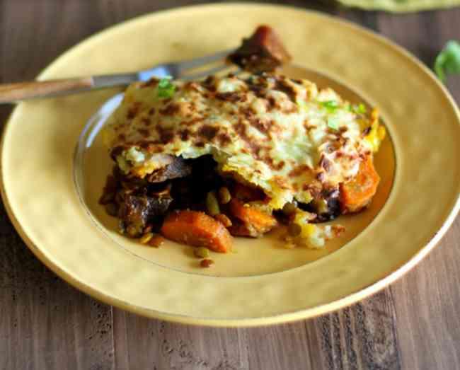 Curried beetroot and lentil shepherd's pie