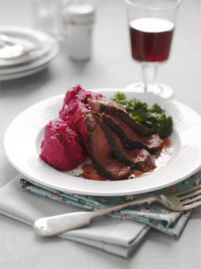 sweet chilli beetroot and potato mash served with steak