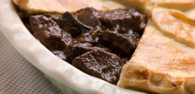 Steak, shallot and mushroom pie