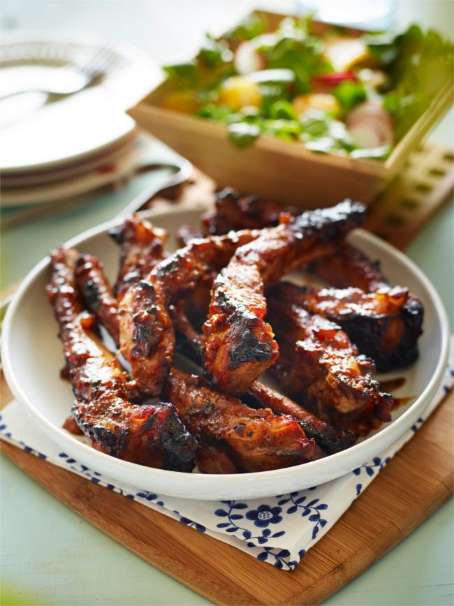 Spiced marmalade glazed pork ribs with fresh radish salad