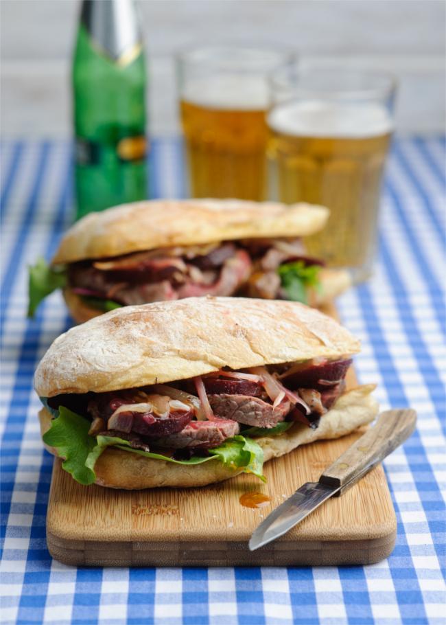 Warm steak & infused beetroot sandwich with honey & mustard dressing