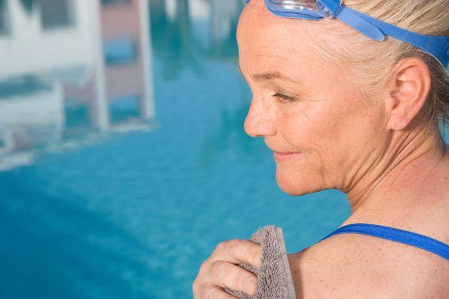 older woman swim