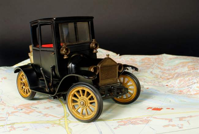 Miniature Ford Model T on map