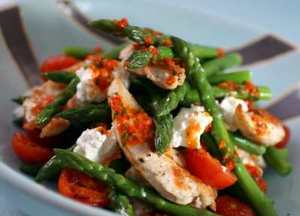 warm asparagus, griddled chicken and feta cheese