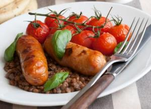 Sausage and Puy lentils