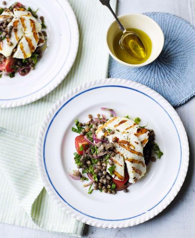 Halloumi with warm lentil salad
