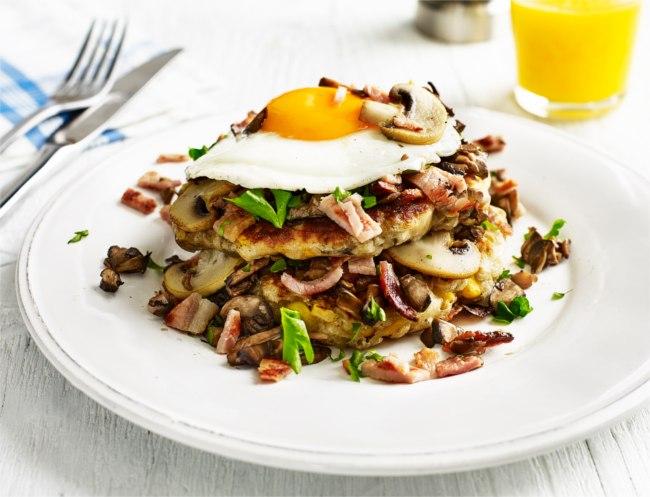 Mushroom, bacon and egg pancake stack