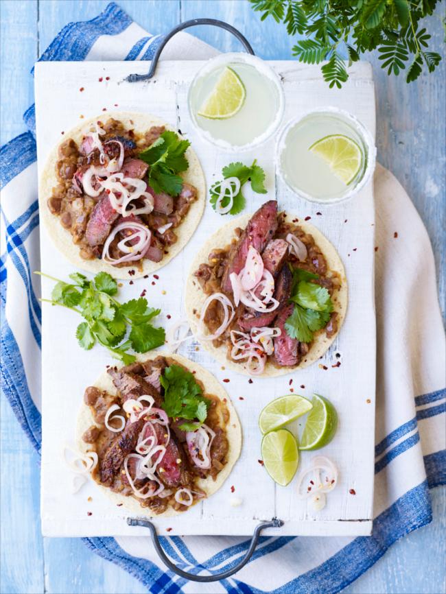 Steak, shallot & black bean tostadas