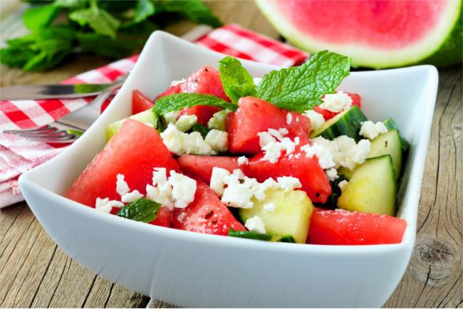 Feta cheese, watermelon and cucumber salad