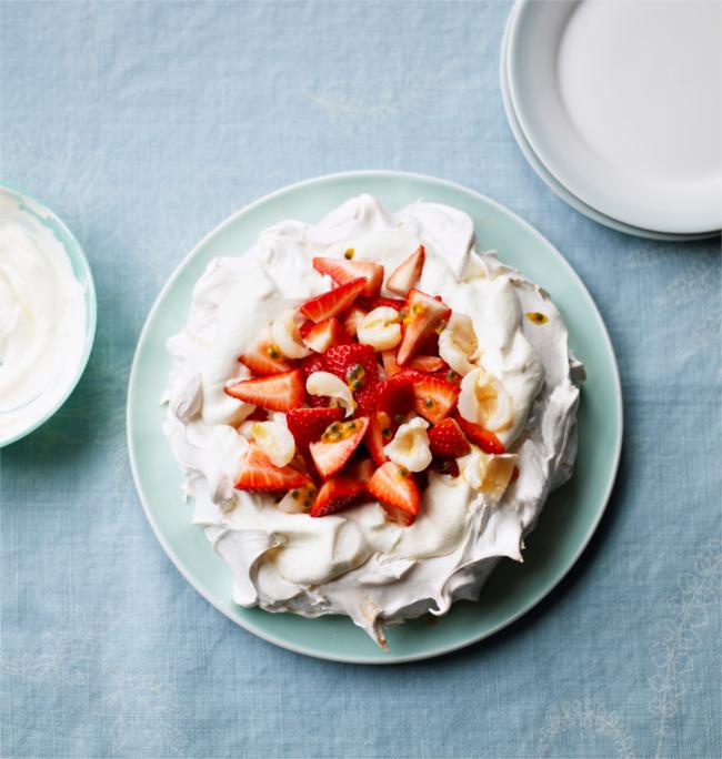 Strawberry, lychee and passion fruit pavlova