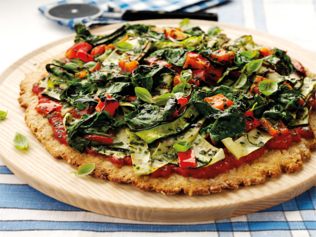 Vegetable and salsa verde scone pizza