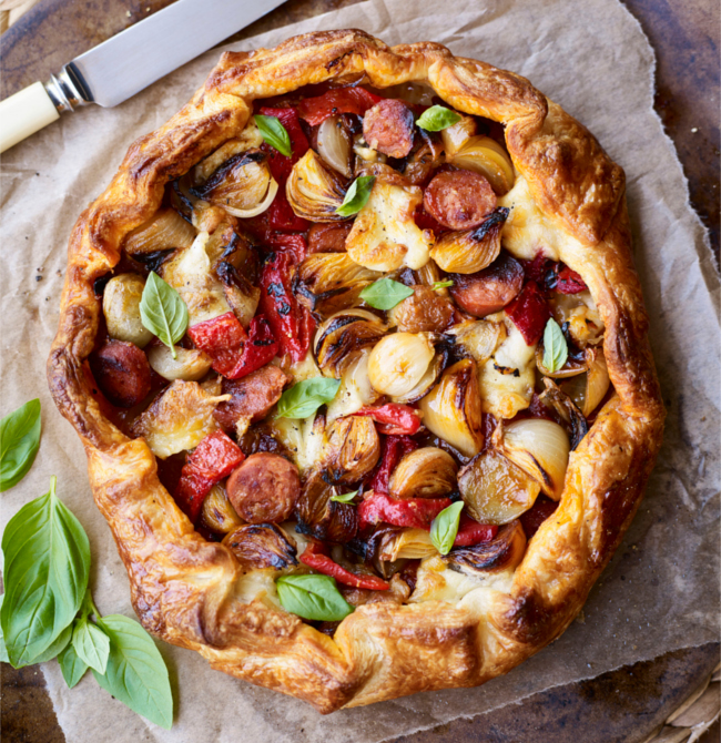Chorizo and shallot galette