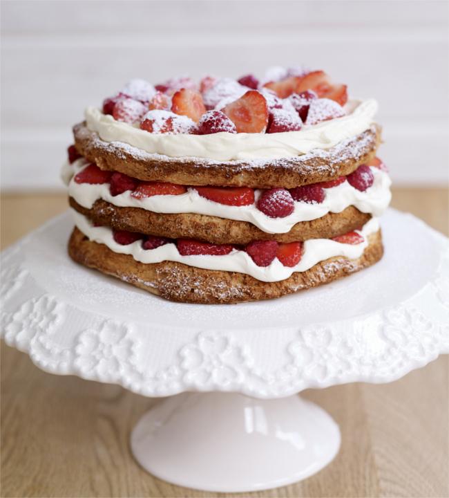 Hazelnut and berry meringue cake