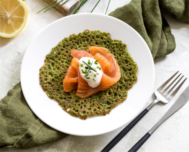Spinach and buckwheat pancakes