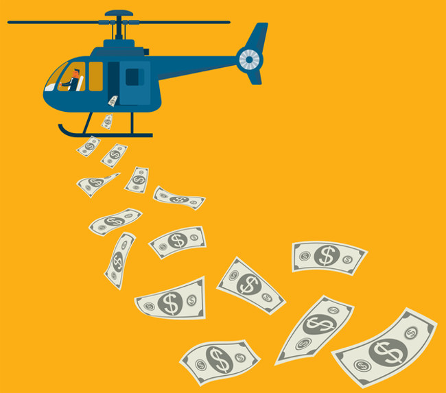 Helicopter flowing with money