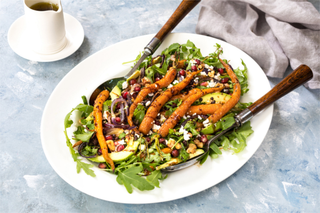 carrot salad with walnuts, chickpeas and feta