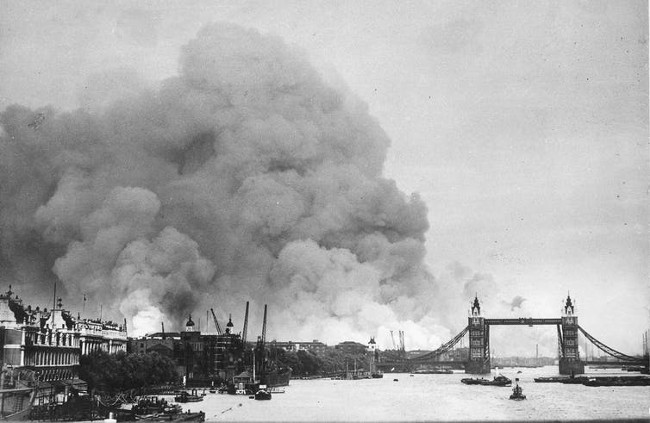 Smoke rising over the London docks, September 7, 1940.