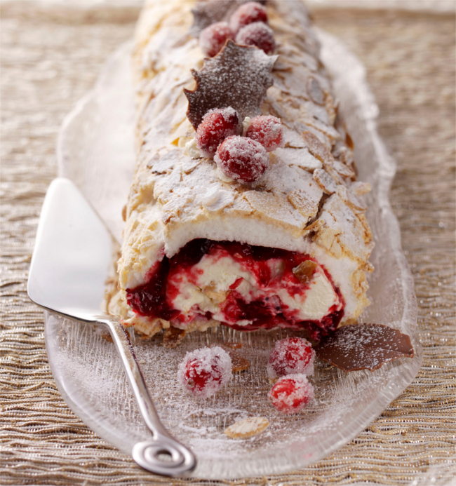 Cranberry meringue roulade